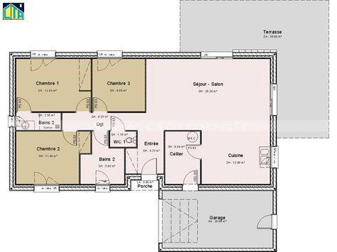 Maison individuelle CTA de plain-pied avec 3 chambres (100 m²