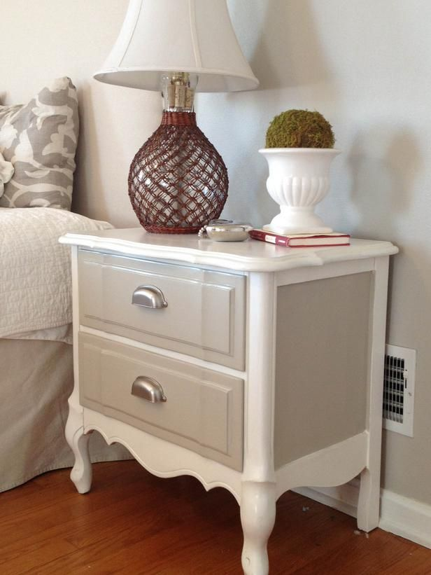 Mirror And Painted Bedside Table: Ideas For Updating An Old Bedside Tables