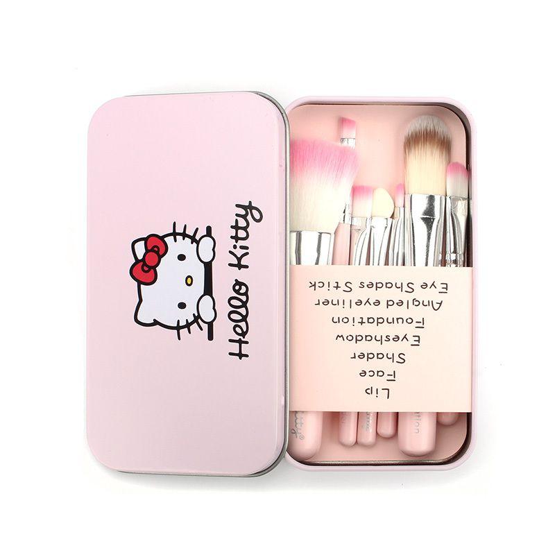 Nueva Hello Kitty 7 piezas mini cepillo del maquillaje de los cosméticos del kit del sistema de Pincéis de maquiagem compone el kit de cepillo con la caja de metal