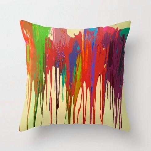 Custom Made Funky Bright Paint Drip Design Fabric Pillow Cover & Custom Made Funky Bright Paint Drip Design Fabric Pillow Cover ... pillowsntoast.com