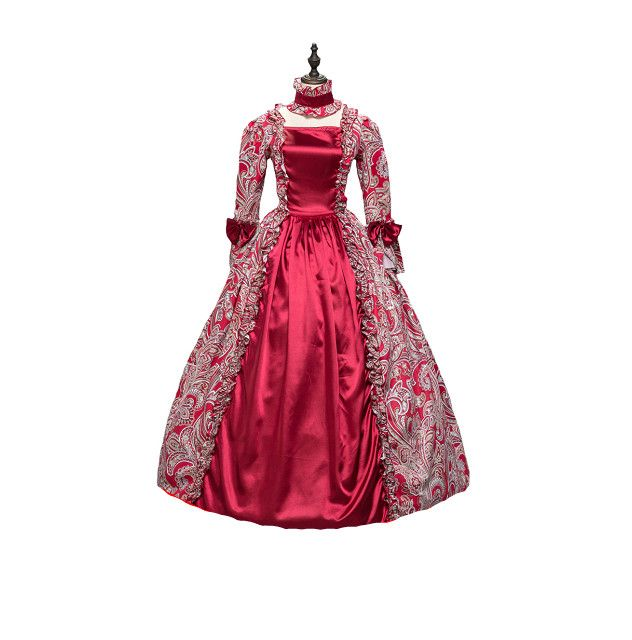 KEMAO Dress Red Georgian Renaissance Princess Dress Gothic ...