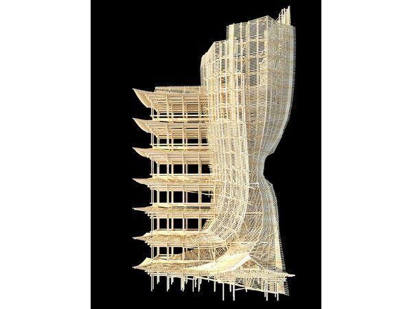 Un concept de gratte-ciel en bois à monter comme un meuble Ikea - monter un garage en bois