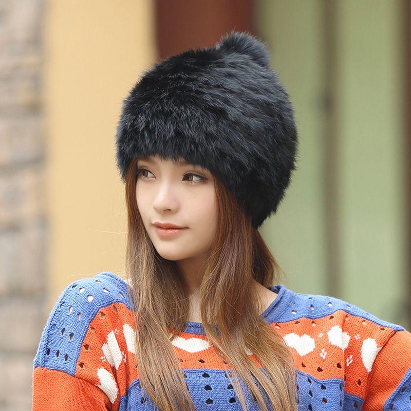 고품질 유행 겨울 모자 토끼 모피 비니 뜨개질 양모 진짜 모피 캐주얼 귀여운 여자 캡 무료 쇼핑