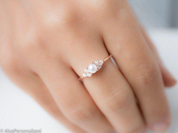 Eine Delikatesse Stieg Gold Perle Verlobungsring Mit Echten
