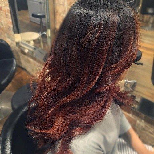 Dark Brown Hair With Auburn Balayage Auburn Balayage Mahogany Hair Long Hair Styles
