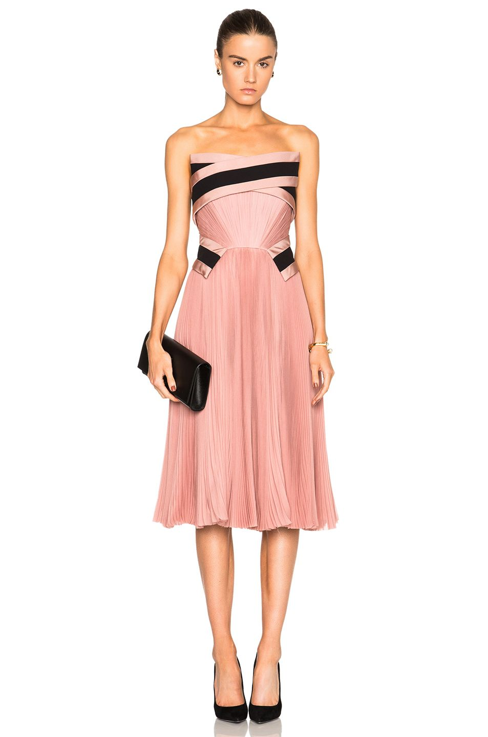 J. Mendel Pleated Dress in Sugar Pink | FWRD | Pretty Shades Of Pink ...