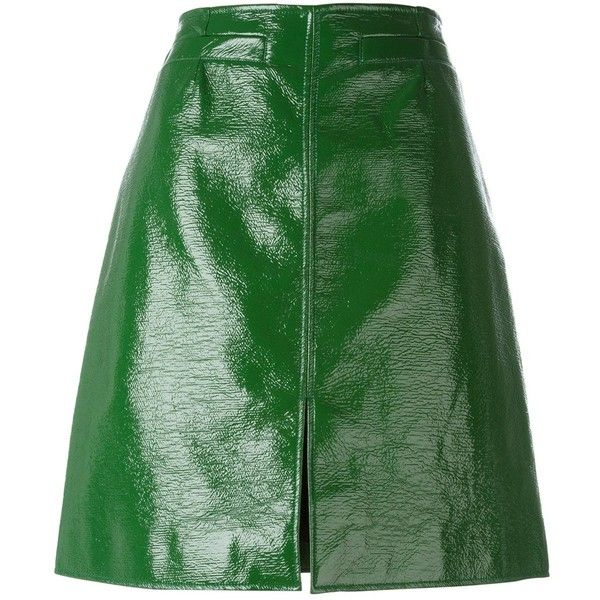 Courrèges front slit pencil skirt (3.025 BRL) ❤ liked on Polyvore featuring skirts, bottoms, green, green skirt, green pencil skirt, front slit pencil skirt, front slit skirt and knee length pencil skirt