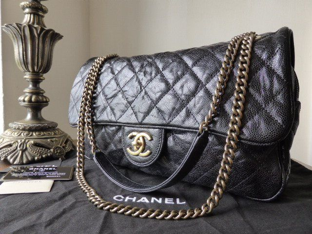 5c662e160502 Chanel Large Shiva Flap in Black Glazed Calfskin Caviar > http://www