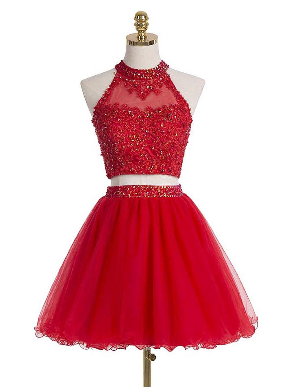 Red Short Tight Sparkly Homecoming Dresses