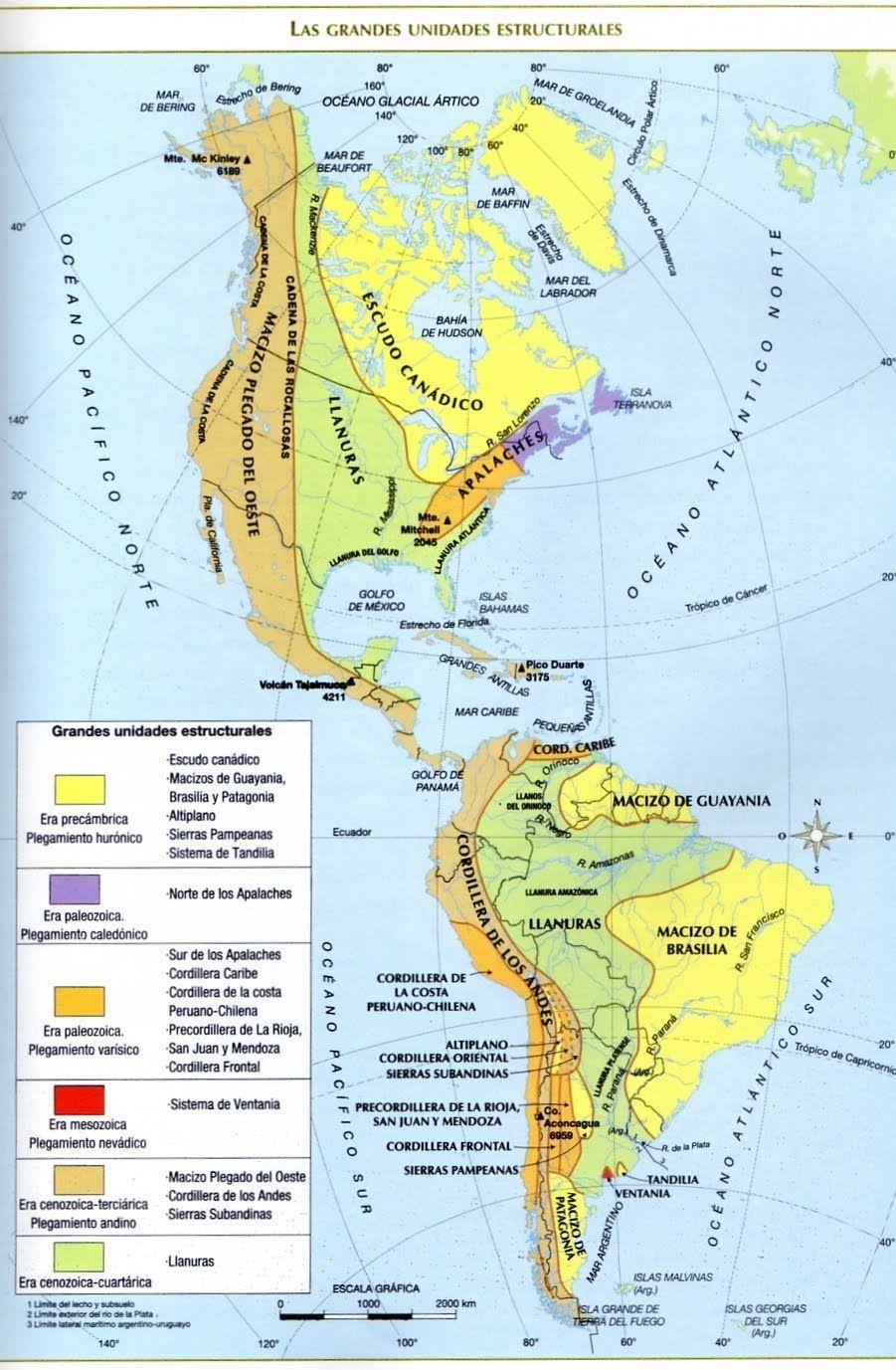 América Unidades Morfoestructurales Actividades De Geografía Enseñanza De La Geografía Geografía Física