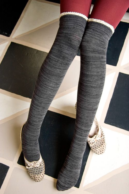 Marled Knee Socks with Picot Trim! Almost like space dye