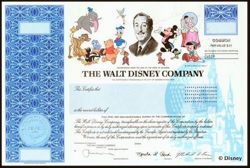 Disney first listed in 1956 Original Stock Certificates - company share certificates