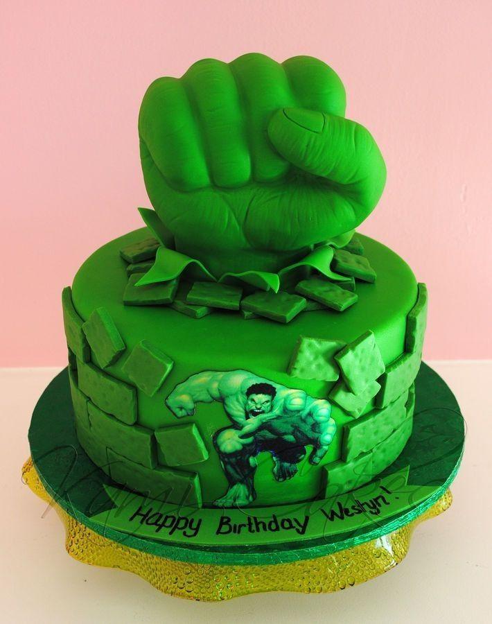 25 Ways to Make a Great Incredible Hulk Birthday Cake Hulk smash