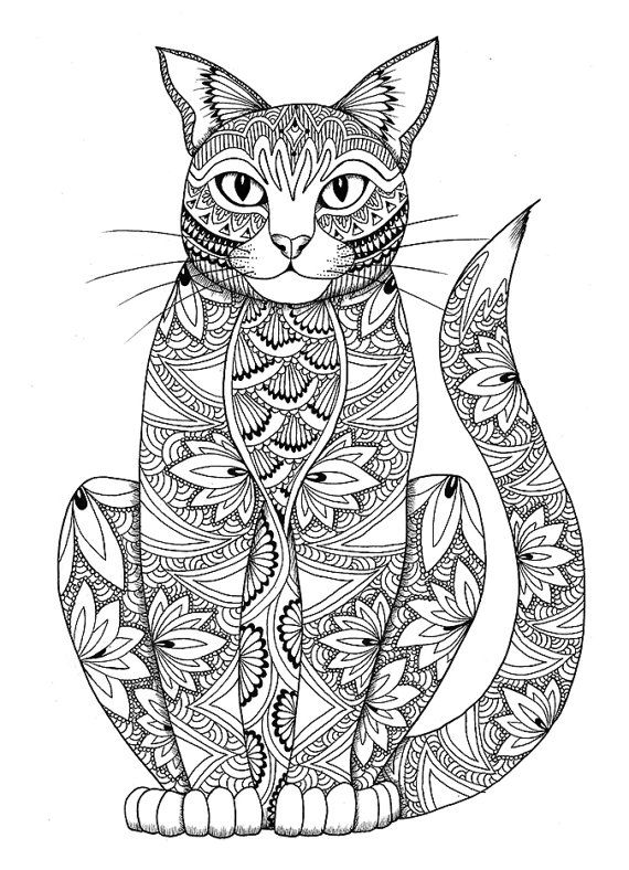 Cat coloring page by miedzykreskami on Etsy Adult Colouring