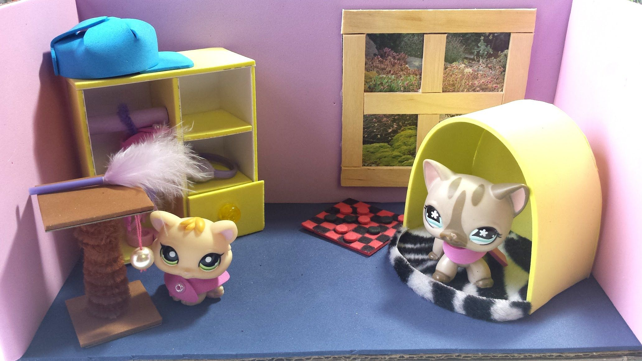 how to make a room for an lps cat doll house diy dollhouse diy miniatures more for lps mlp. Black Bedroom Furniture Sets. Home Design Ideas