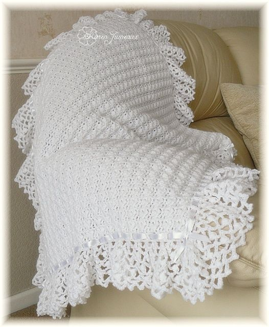 Beautiful baby afghan. This would be beautiful for a christening ...