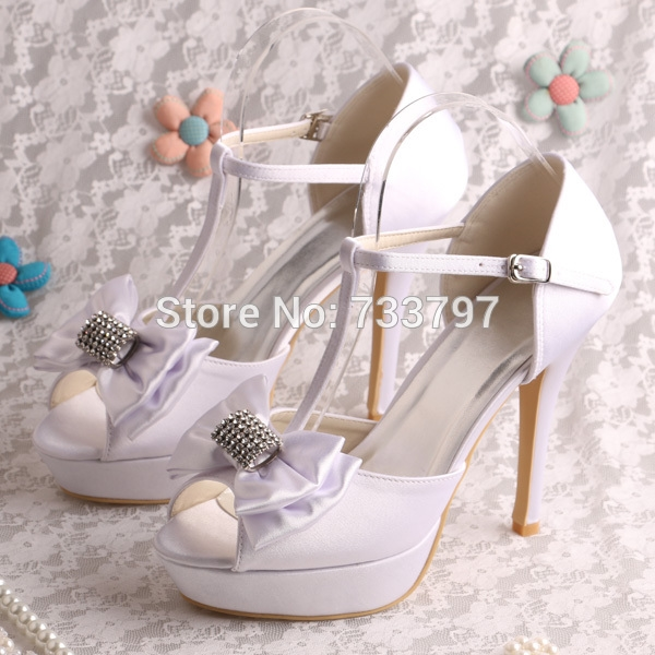 44 10 Buy Here Wedopus Brand Wedding Shoes Sandals White Heels With Platform Shoes Women Bow Women Shoes Wedding Shoes Sandals Heels