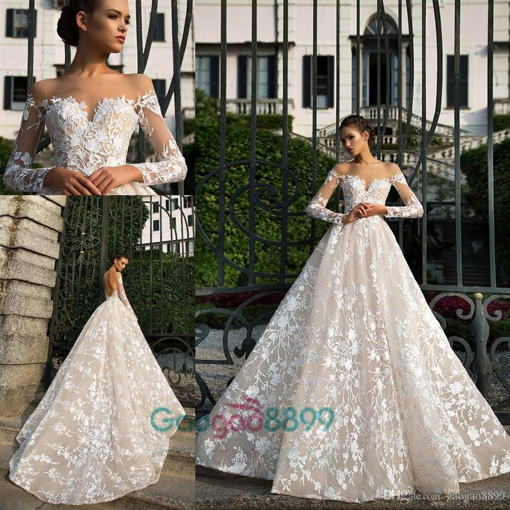 Milla Nova illusion neck long sleeve garden wedding dress | a-line ...