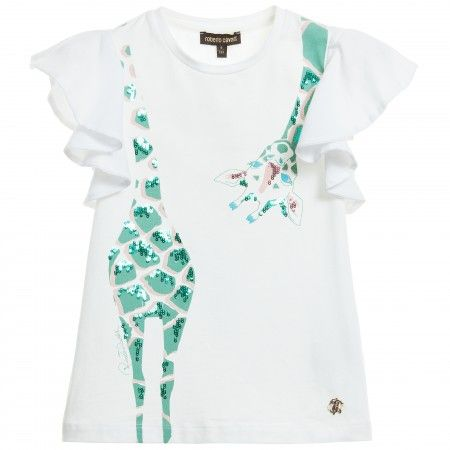 Roberto Cavalli - Girls White Sequin Giraffe T-Shirt | CHILDRENSALON