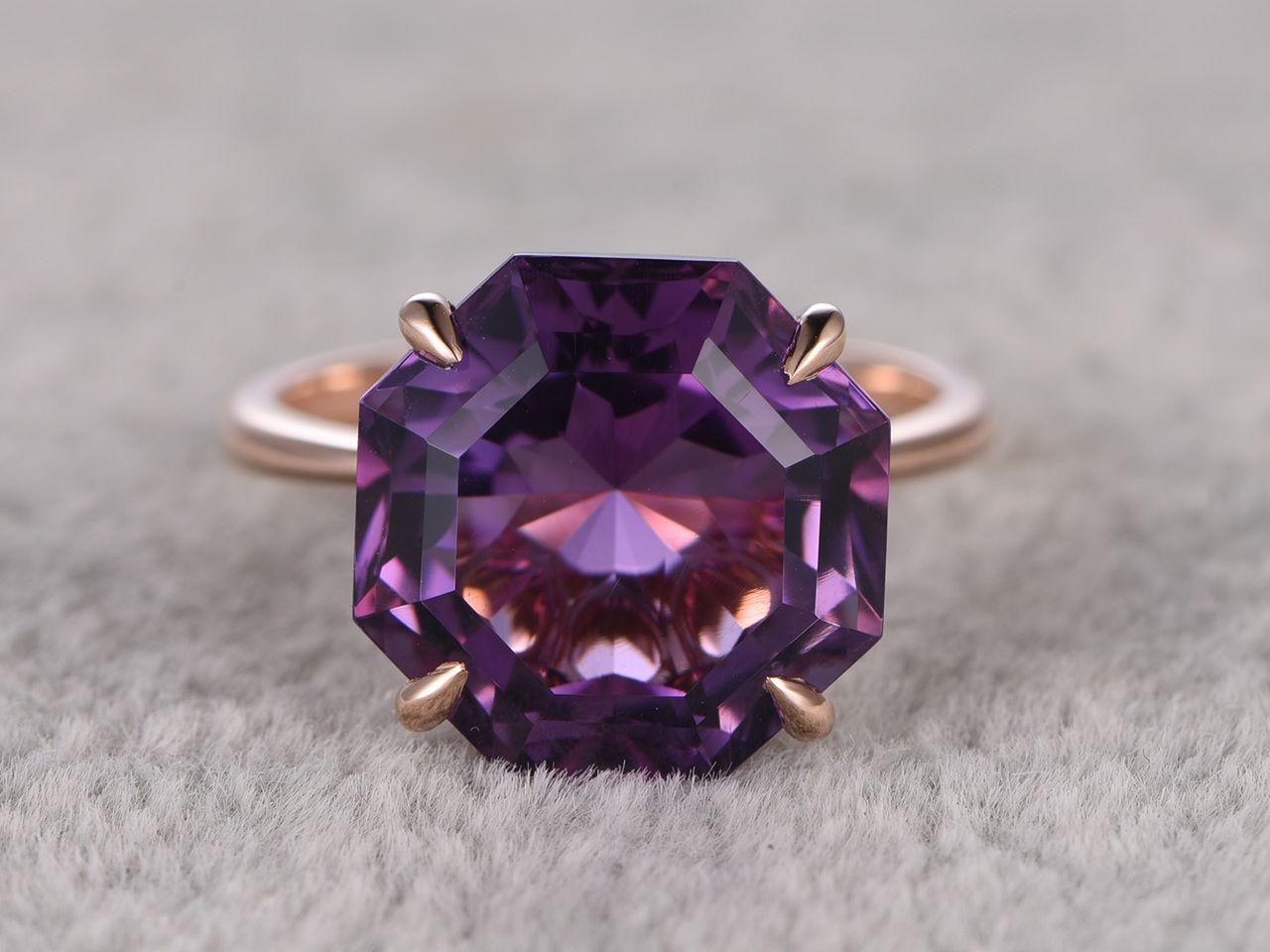 105ct hexagon amethyst engagement ring 14k rose gold