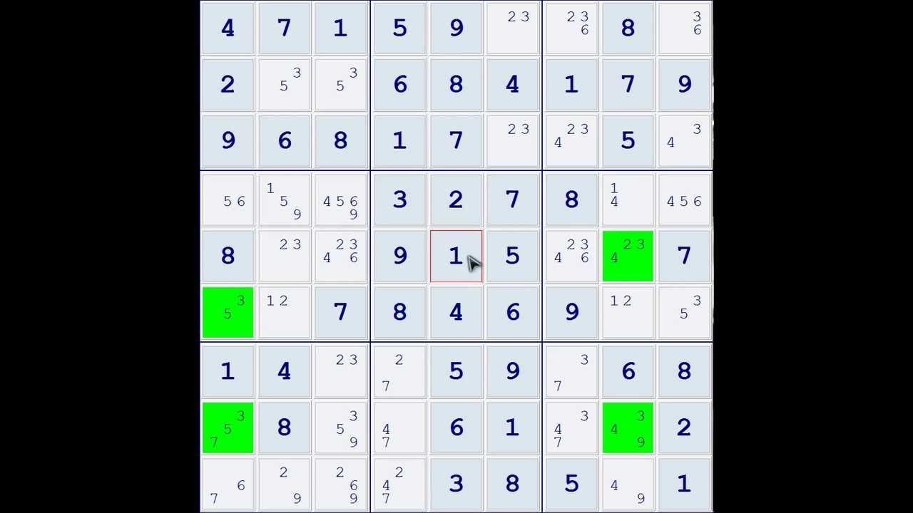 Sudoku Demonstration Skyscraper Technique (Example 01