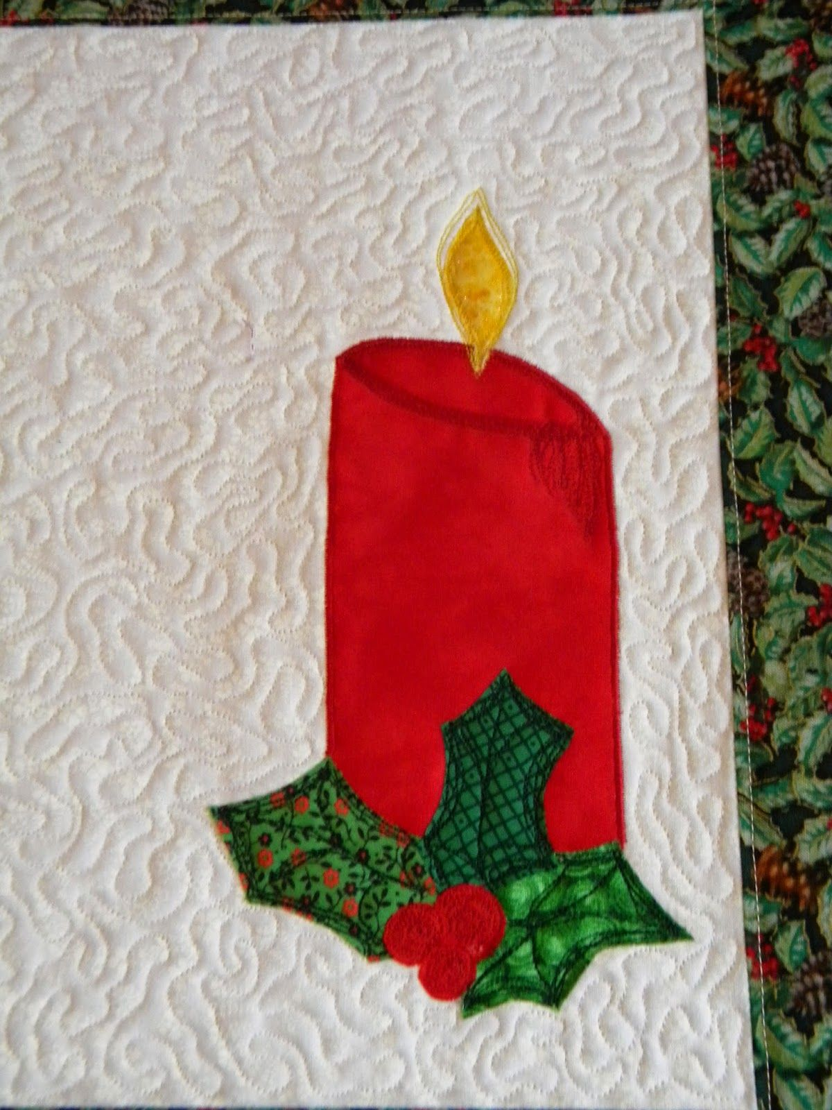 free motion quilted, raw edge and thread art applique Christmas placemat, candle