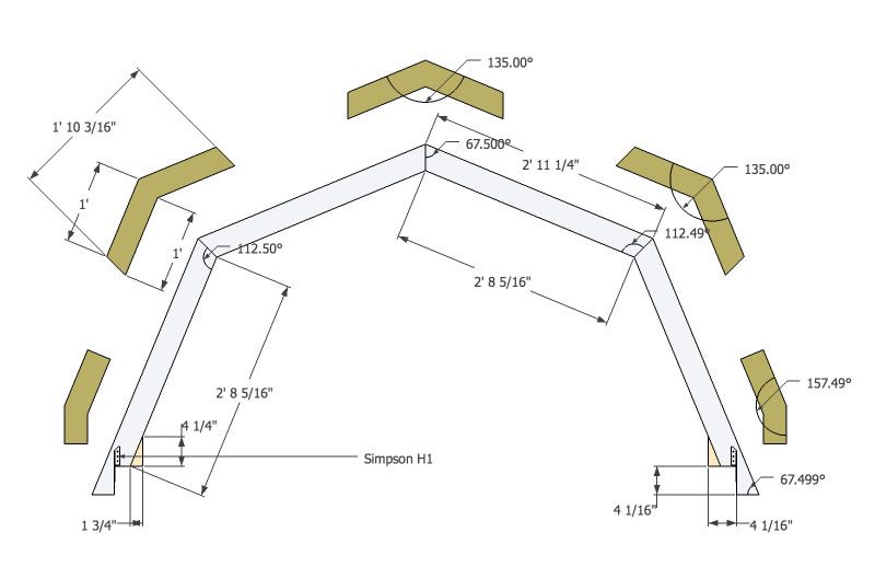 Micro gambrel truss detail 0 sue pinterest gambrel for Truss plan