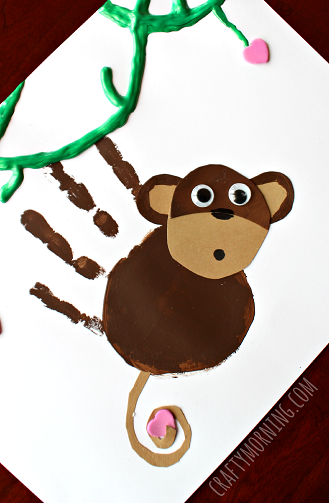 Handprint Monkey Valentine Craft for Kids - Crafty Morning | kid ...