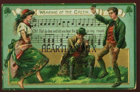 Vintage St Patricks Day Digital Image Wall Etsy Postcard Irish Music St Patrick