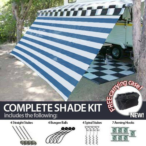 12 X 20 Rv Awning Shade Blue And White Complete Kit With Carry Bag Canopy Shelter Screen Panel And Awning Maintenance M Awning Shade Camping Canopy Hiking Tent