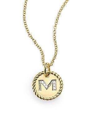 David yurman 18k yellow gold initial pendant necklacem jewelry david yurman 18k yellow gold initial pendant necklacem aloadofball Choice Image