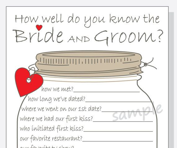 How Well Do You Know The Bride And Groom? Printable Cards