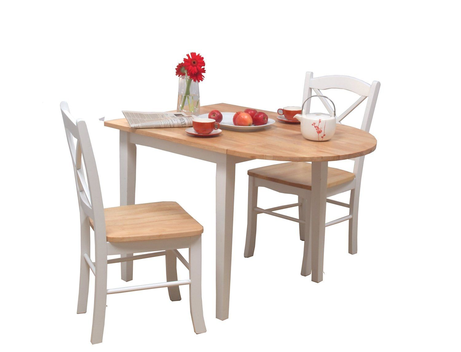 Amazon.com - TMS 3pc Tiffany Dining Set, White/Natural - Table ...