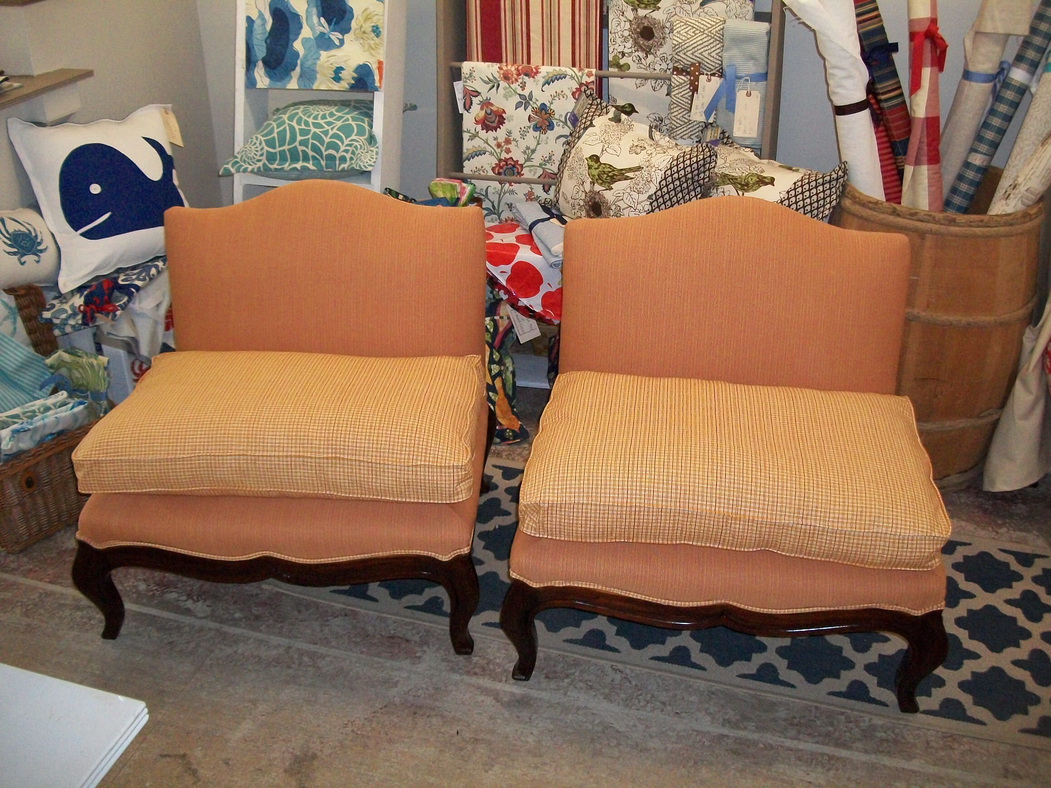 Slipper Chairs In Striped Orange Fabric, With Down Cushions In An Orange  Checked Fabric.