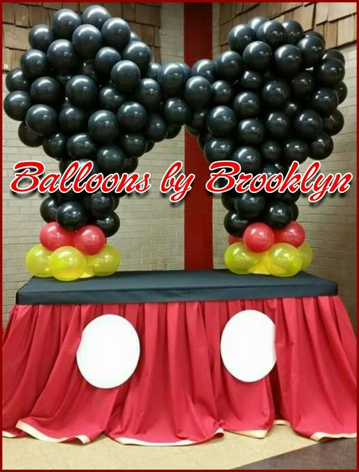3 Year Olds 1 Birthday Mickey Mouse Cake Table Set Up Love Balloon Ideas Party