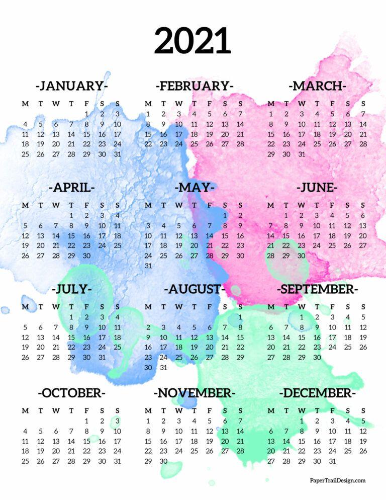 2021 One Page Calendar Monday Start Paper Trail Design