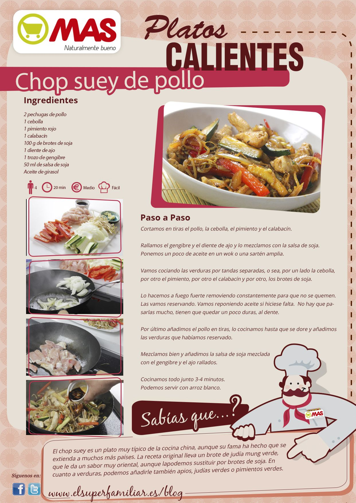 Chop Suey De Pollo  Supermercados MAS Blog  Comida
