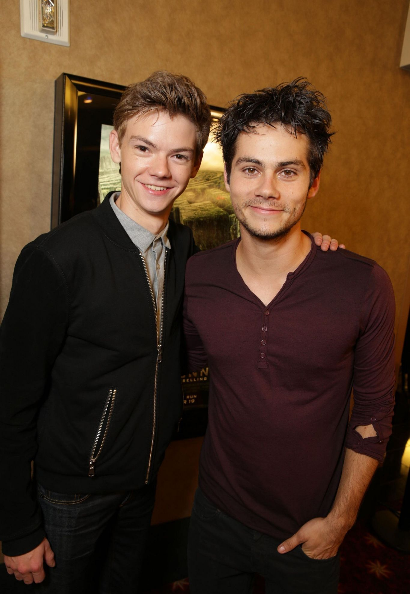 Thomas-Brodie Sangster and Dylan O'Brien at the Twentieth Century Fox Fan Screening of The Maze Runner in 2014.