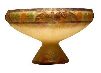 """""""Aigles"""" a pate-de-verre bowl, 1920's, molded G. Argy-Rousseau."""
