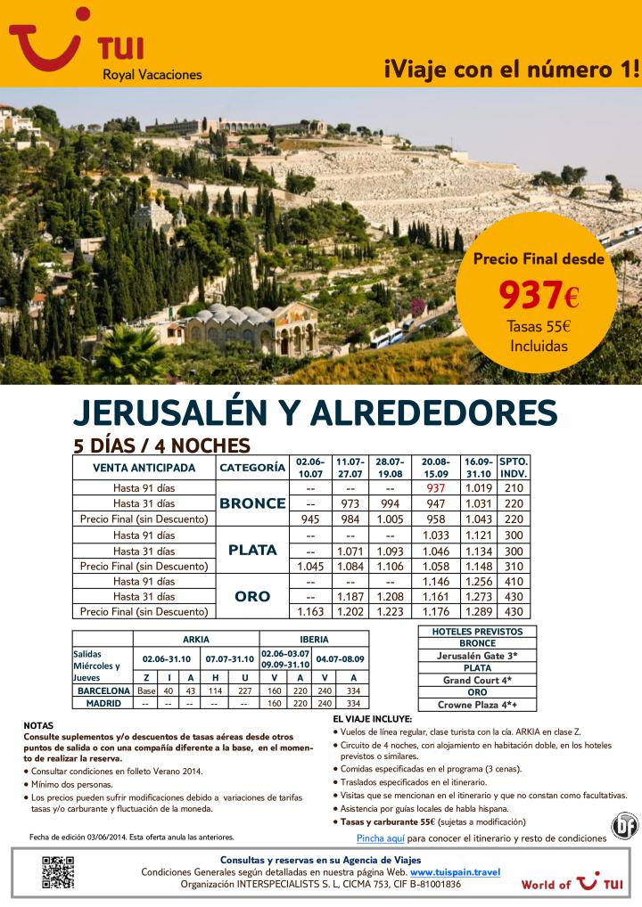 ¡Venta anticipada! Jerusalén y Alrededores.5 días/4 noches