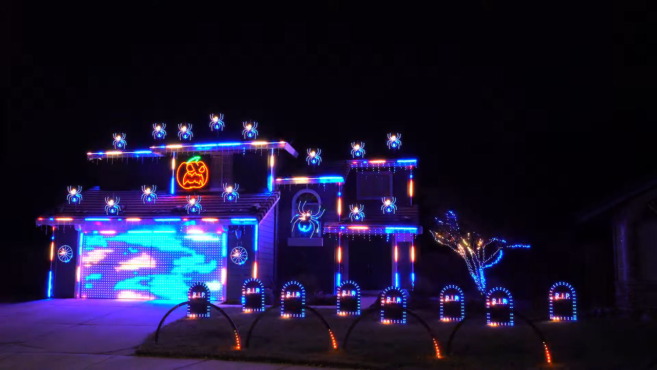 An Incredible Ghostbusters Halloween Light Show With a