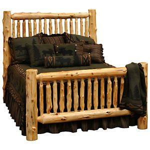 Spindle Log Bed King Log Bedroom Furniture Rustic Bedroom Furniture Cabin Furniture