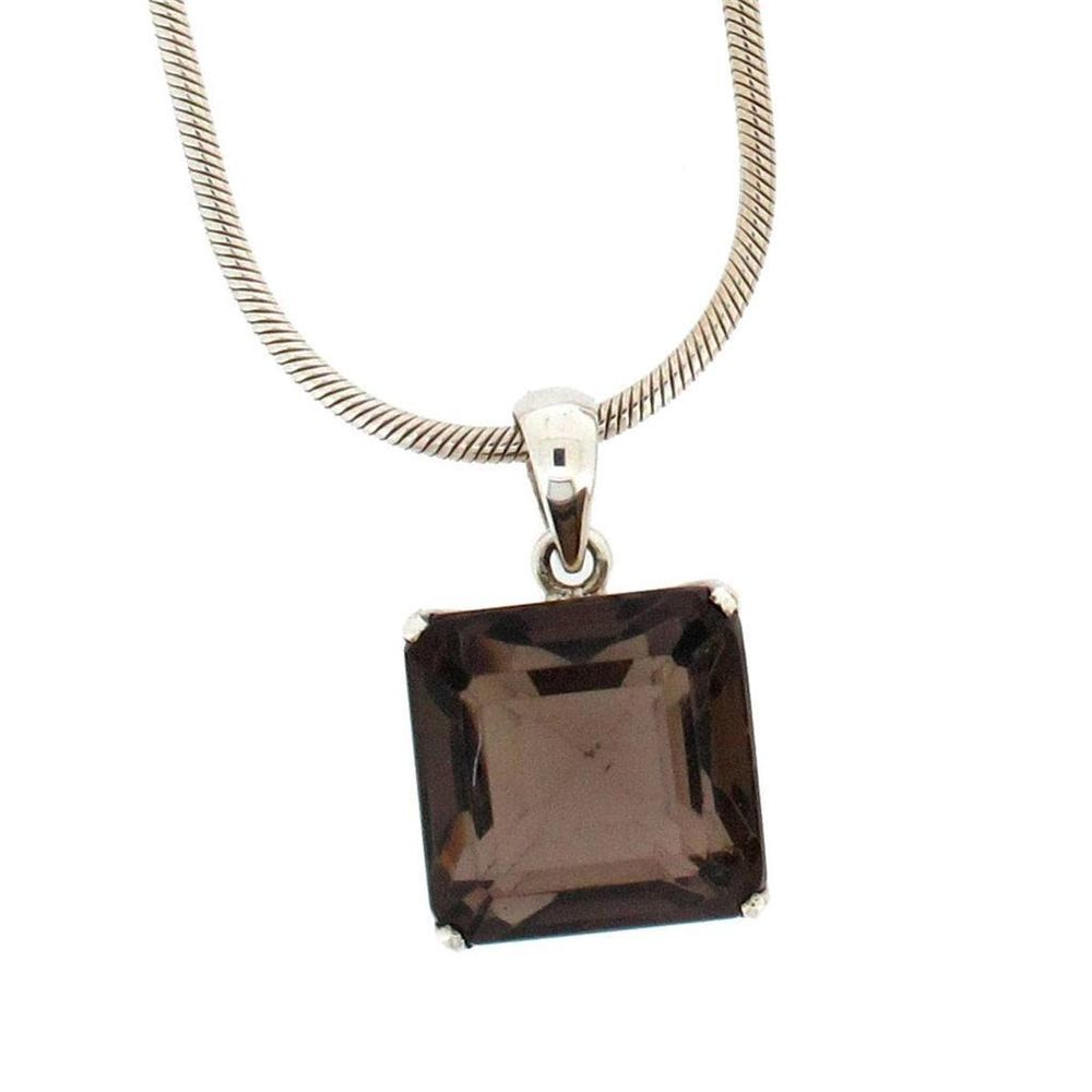 Square Brown Smoky Topaz Sterling Silver .925 Gemstone Faceted Pendant #Pendant