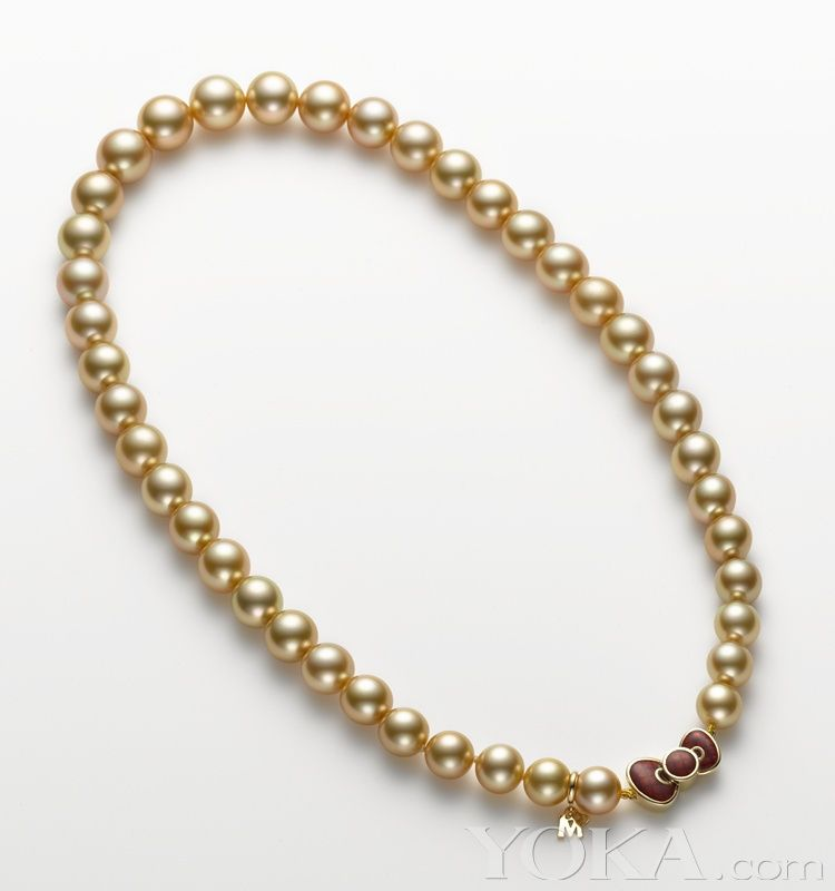 Mikimoto Hello KItty Golden Pearl with Red Bow Strand Necklace ...