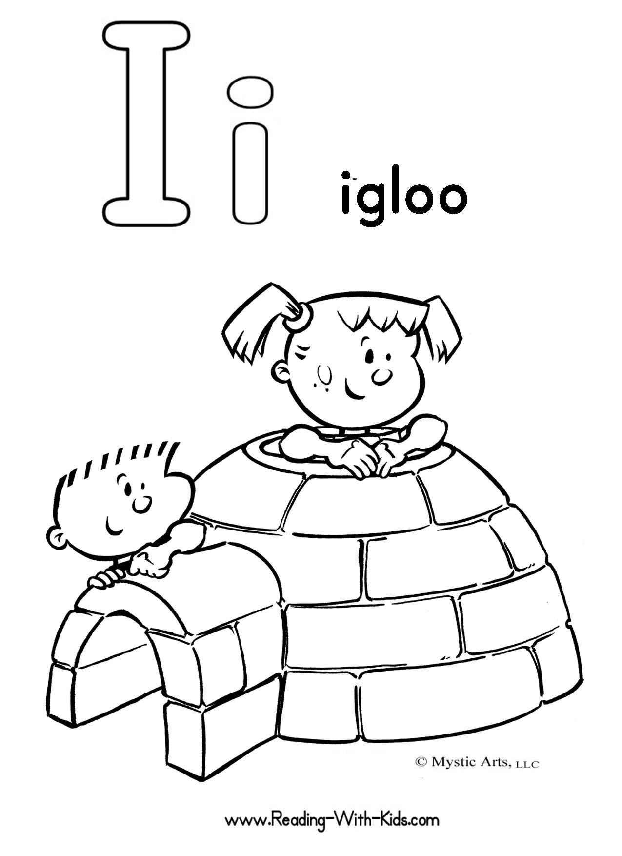 Childrens educational coloring activity book - Igloo Coloring Pic Alphabet Coloring Pages
