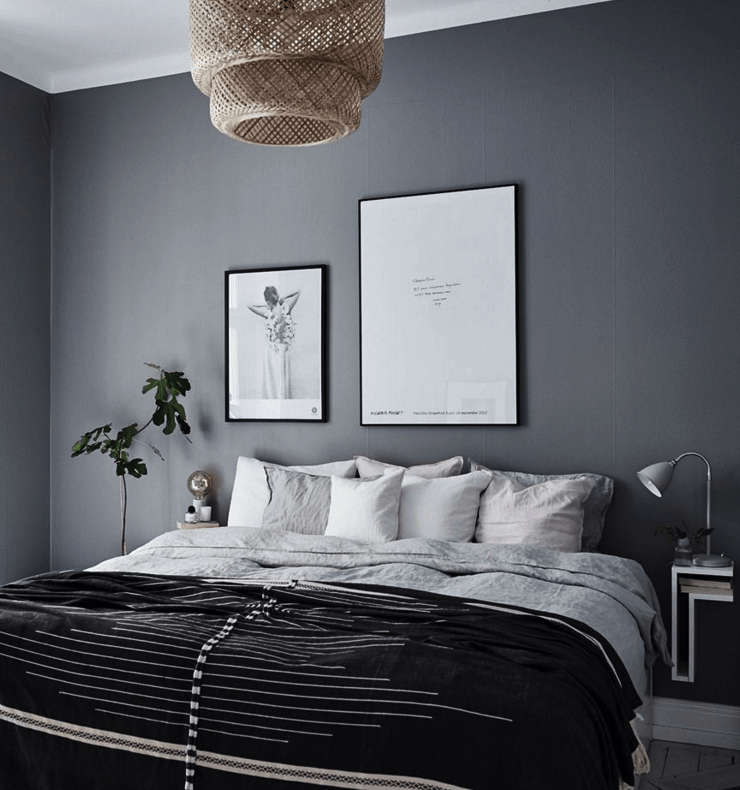 Dark Gray Accent Wall Bedroom Light Grey Walls Paint Behr ...