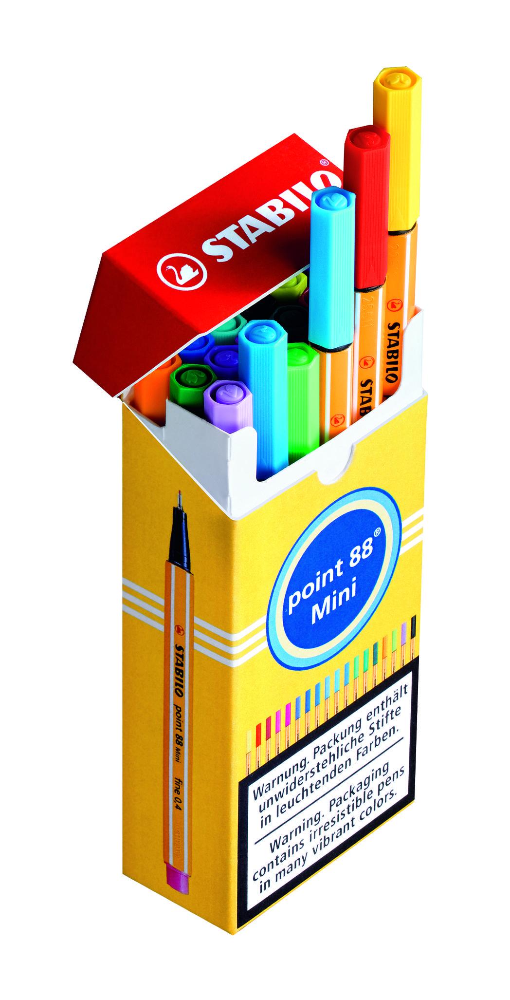 Set of 18 Vivid Colors 4mm Art Pens STABILO Point 88 Mini Fineliner Pens