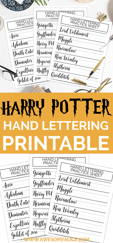 Free Brush Lettering Worksheet For Harry Potter Fans Awesome Alice Brush Lettering Worksheet Brush Lettering Lettering