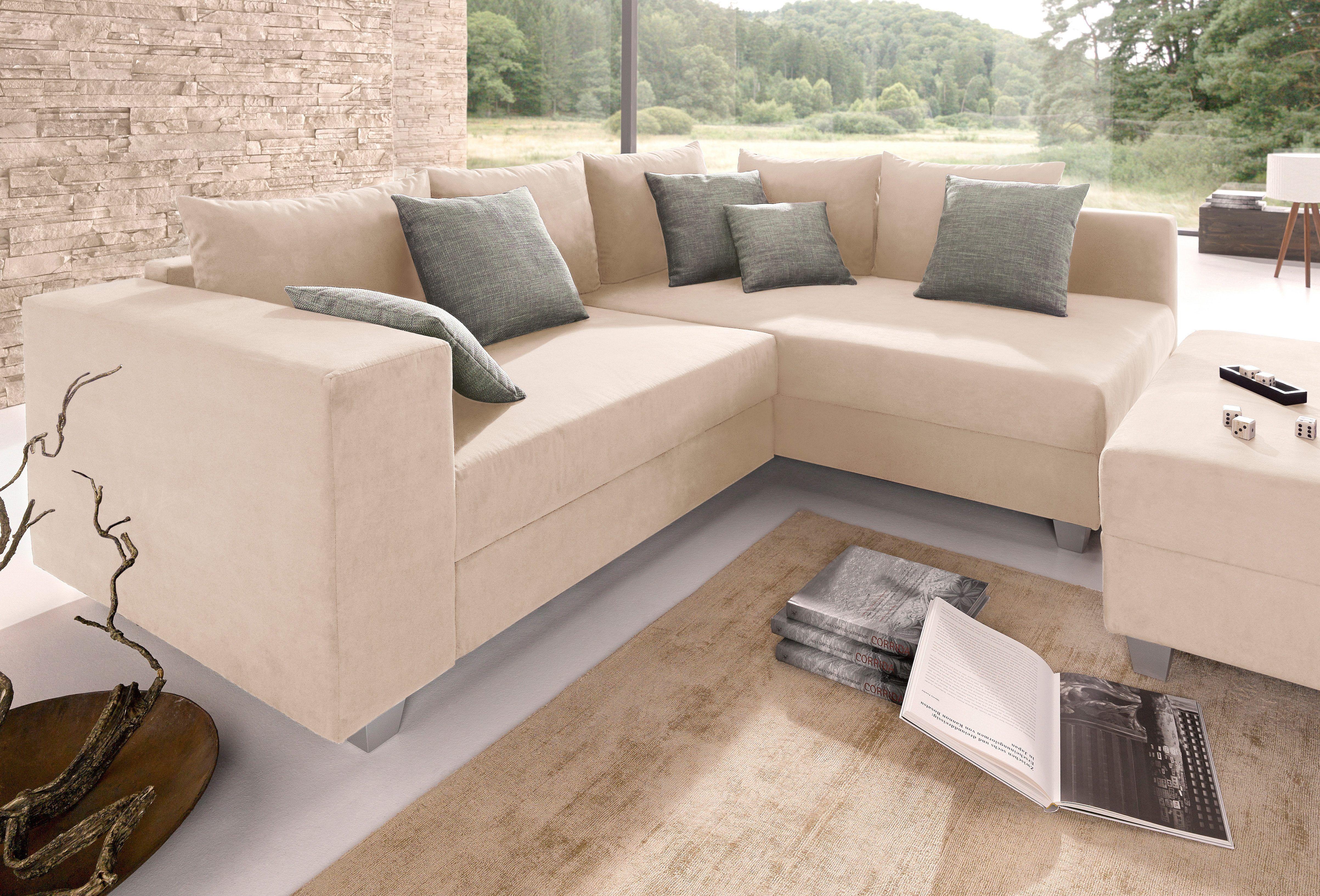 Sitzecke wohnzimmer ~ Sitzecke beige recamiere rechts mit bettfunktion inklusive