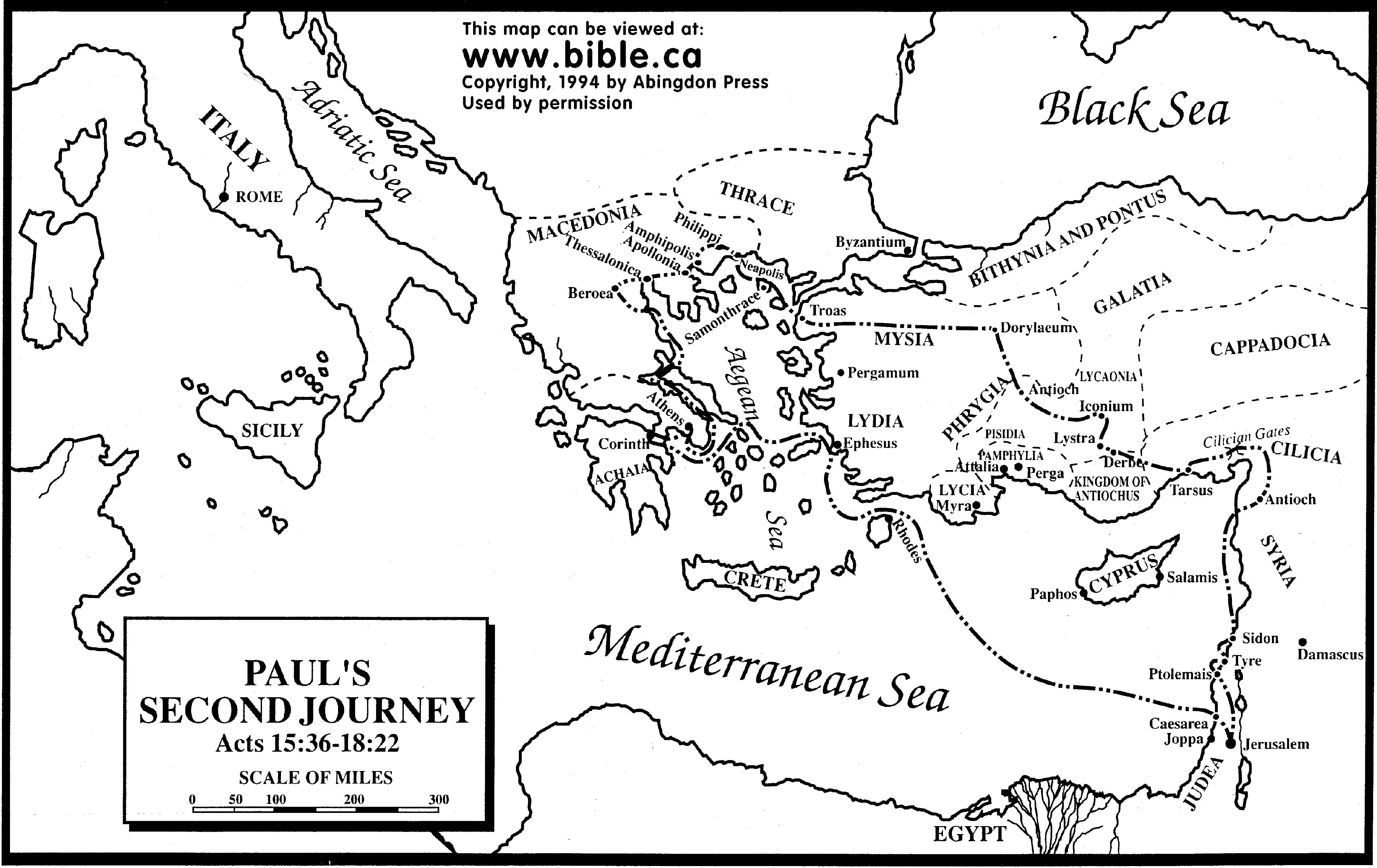 Pauls Second Missionary Journey Fee Map